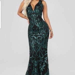 Dark green sequin dress